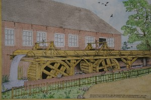 Oude schets van een eerdere reconstructie van de Begijnemolen Sonsbeek toen er nog een situatie was met twee raderen achter de molen.