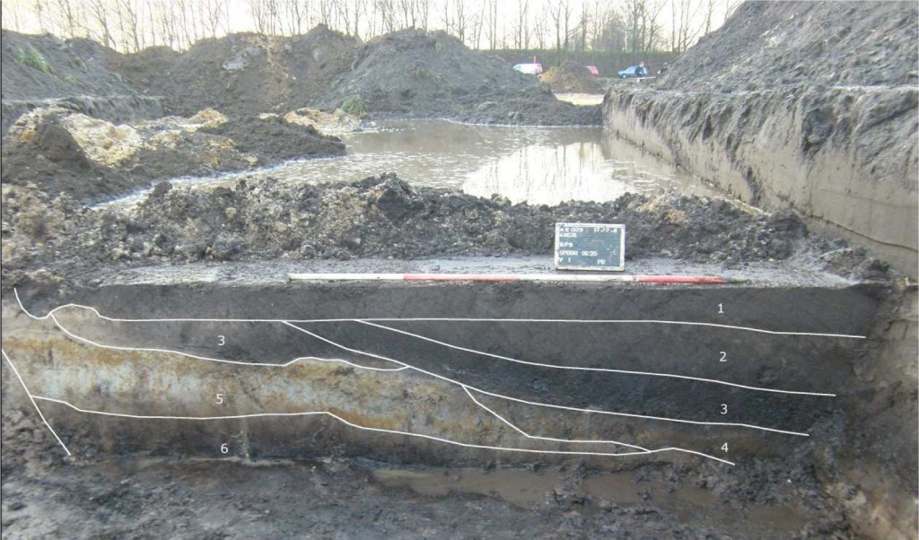 Afb. 4 Profiel over de beekloop met de verschillende lagen. 4 = Neolithicum; 3 = Bronstijd;  2= Late Middeleeuwen/Nieuwe Tijd. (bron: BAAC bv).