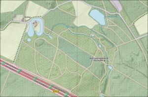 Palttegrond beken op de Vijverberg en op Warnsborn met een boswachterswoning op het schiereilandje