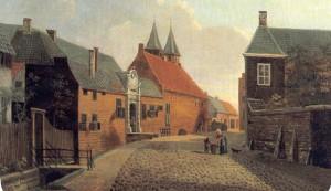 De St. Jansbeek in de binnenstad langs de Beekstraat. (Schilderij uit 17e eeuw)