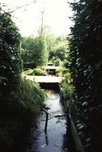 Vanaf de waterval van de Keienberg loopt de beek door tuinen van woningen