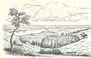 Tekening van het dal van de Seelbeek met zicht op de Rijn vóór de fabrieksbouw