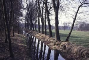 De Renkumse Molenbeek met op de achtergrond het industriegebied Beukenlaan vóór de afbraak daarvan