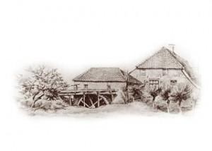 Tekening van de Oosterbeekse Korenmolen, ook wel bekend als de Watermolen van Hooijer