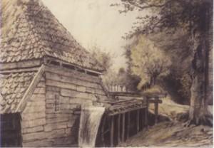 Tekening van de papiermolen Het Kraaijennest van omstreeks 1850