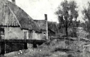 Schilderij van de Heelsumse Korenmolen omstreeks 1900 Stichting Vrienden van de Veluwse Waterradmolens