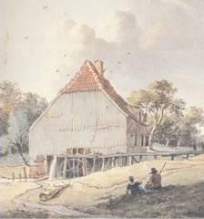 Korenmolen de Hesch op een tekening van Kerkhoff